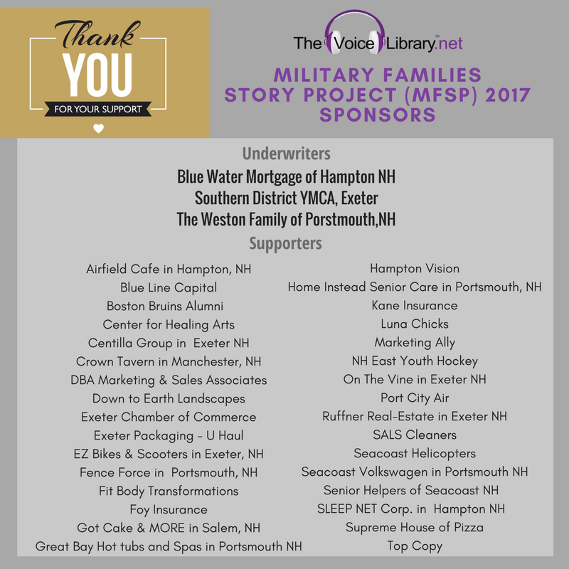 2017 Military Families Story Project Supporters